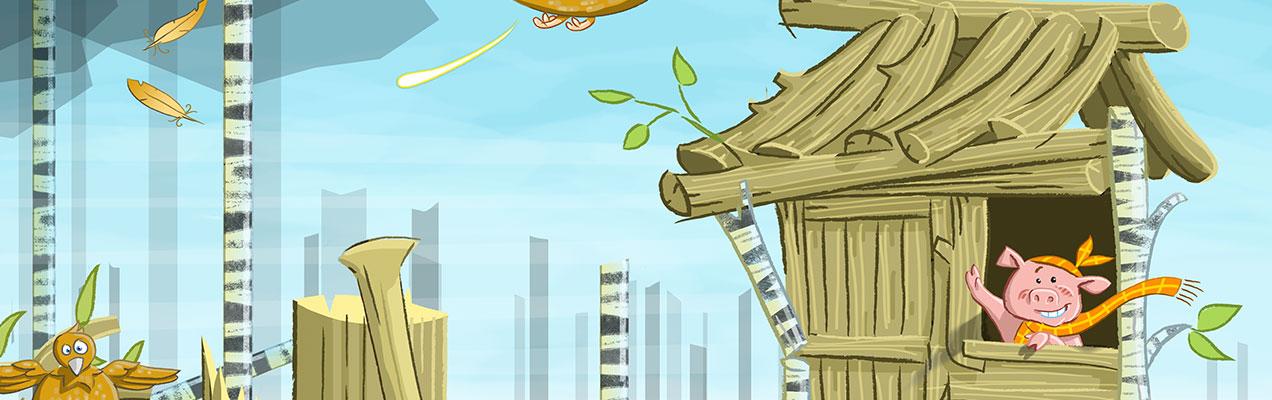 Three Little Pigs story app art by john white irish artist and illustrator