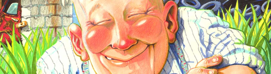 detail of illustration of a happy smiling old farmer leaning on his gate