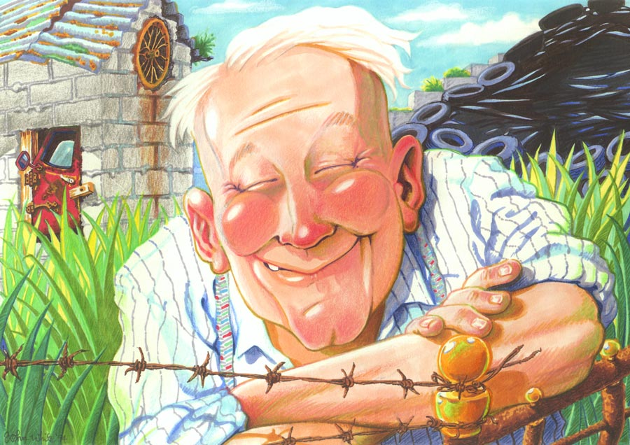 illustration of a happy smiling old farmer leaning on his gate