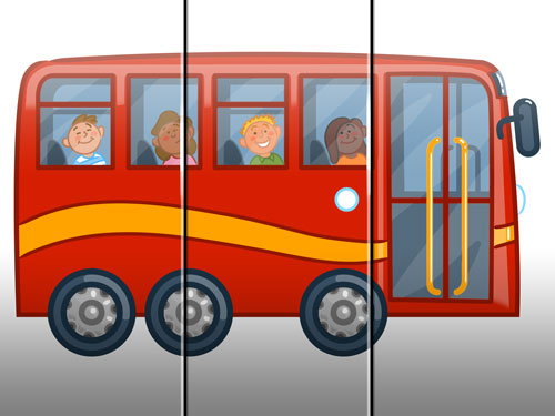 bus illustration art for kids' game app