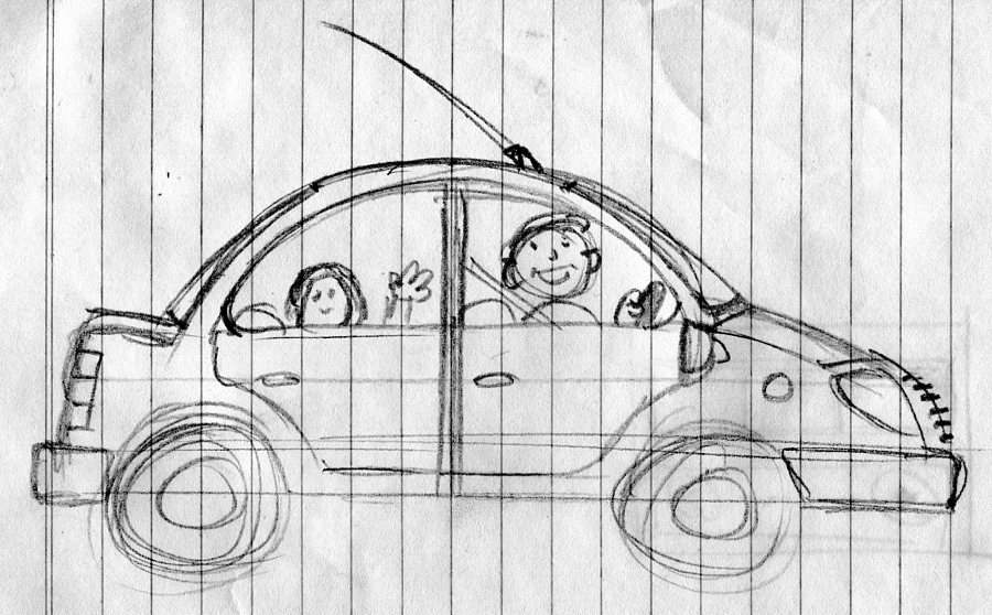 car sketch illustration art for kids' game app