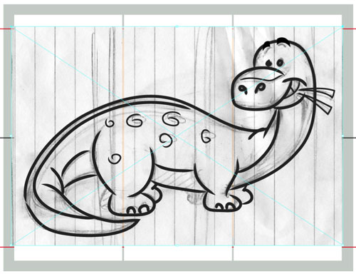 sketch dinosaur illustration art for kids' game app