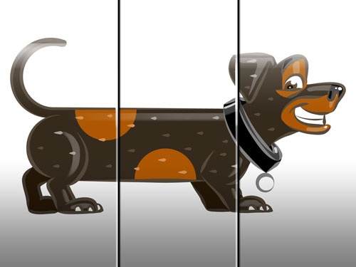 sausage dog illustration art for kids' game app