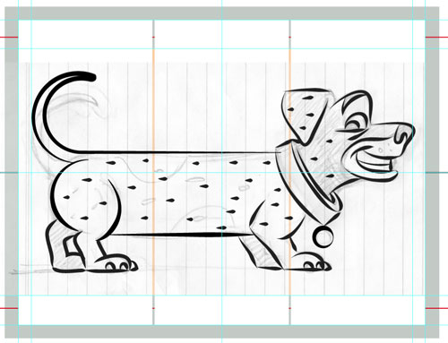 sketch sausage dog illustration art for kids' game app