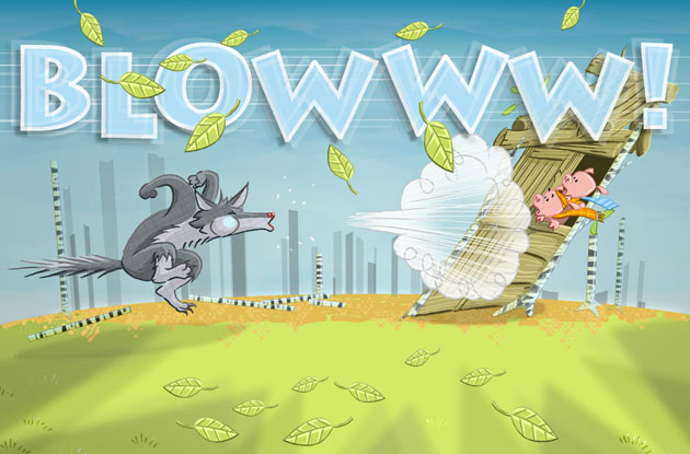 big bad wolf blows wooden house down illustration
