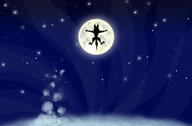 big bad wolf flies over the moon illustration