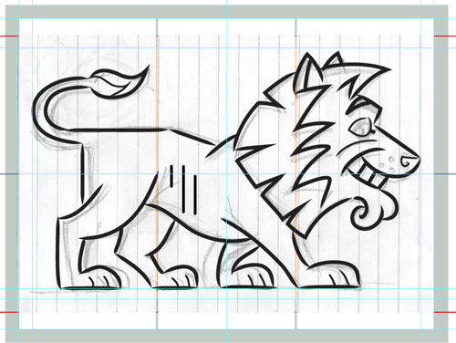 sketch lion illustration art for kids' game app