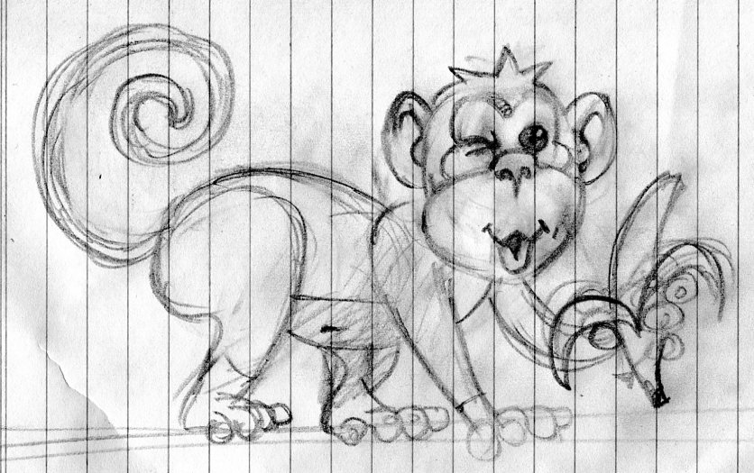 monkey sketch illustration art for kids' game app