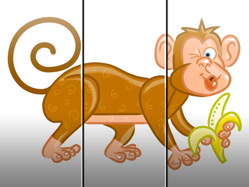 monkey illustration art for kids' game app