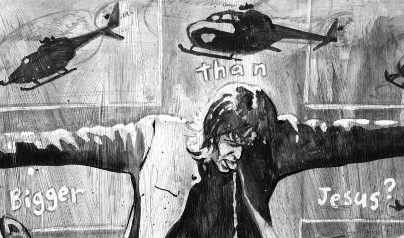 newspaper illustration of the band oasis detail liam and helicopters