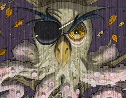 owl ivy octopus chimera illustration progress shot detail image