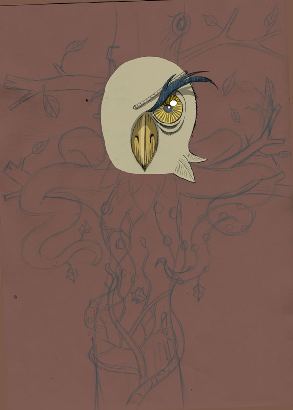 owl ivy octopus chimera illustration progress shot