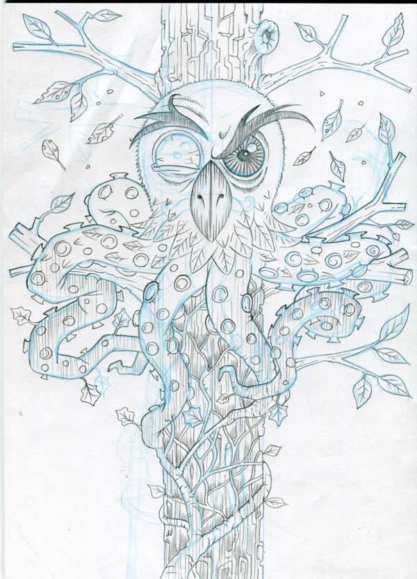 owl ivy octopus chimera pencil drawing progress shot