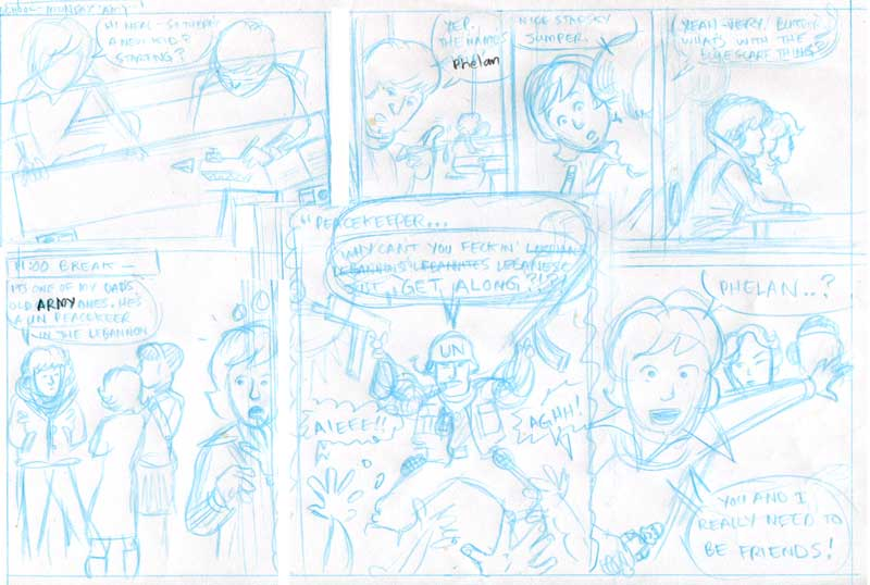 Rough comic pencils on A4