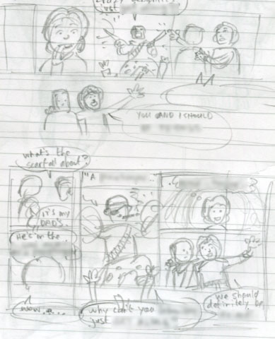 comic small rough page sketch