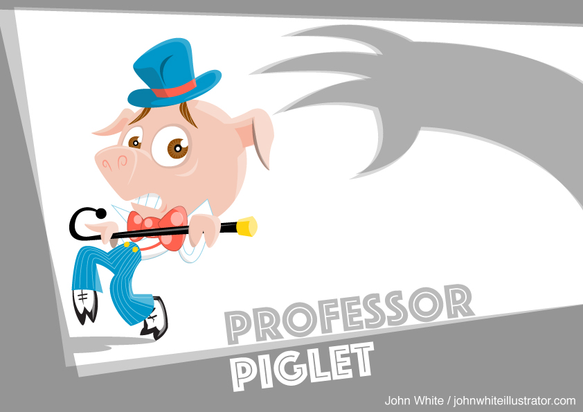 professor piglet character design in action