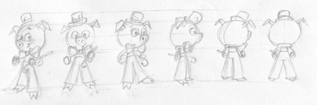 game animation characetr design turnaround sketches
