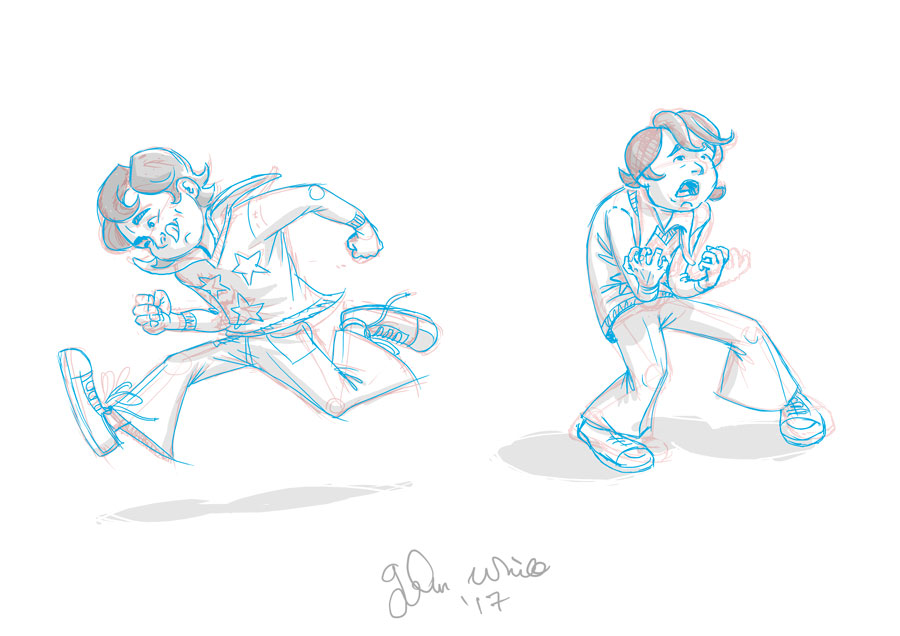 comic and animation poses drawings