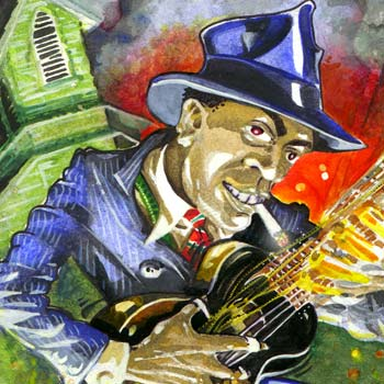thumbnail of illustration of bluesman robert johnson