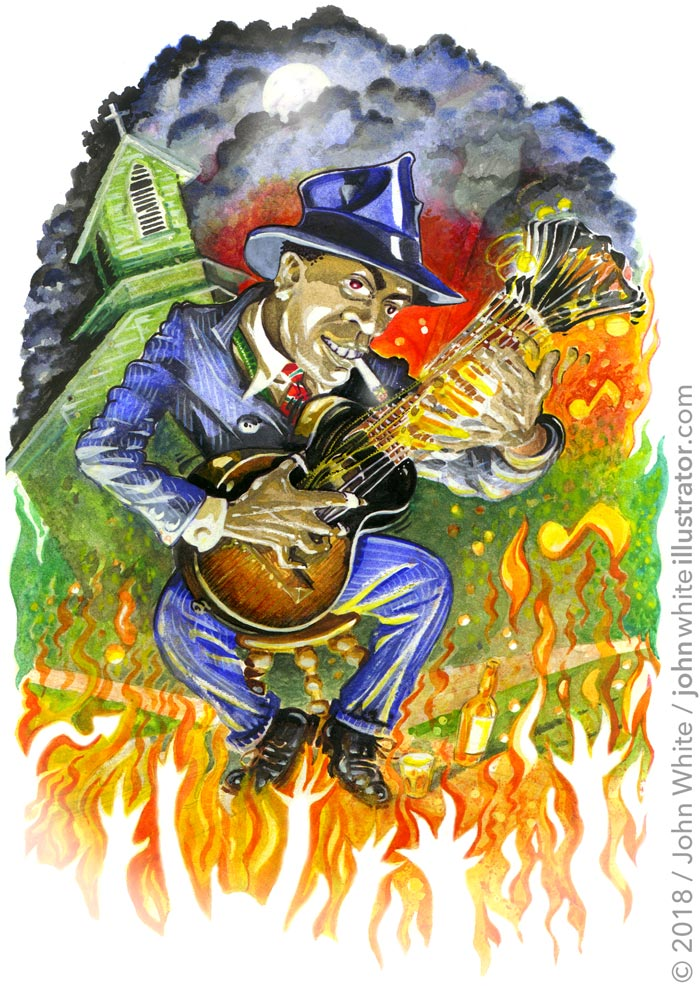 illustration art of bluesman robert johnson