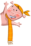 little pig illustration waving his arms