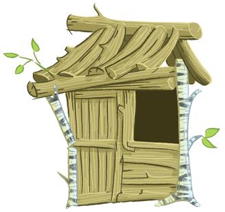pig's house of wood illustration