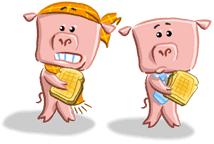 scared piggies illustration
