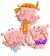 3 little pigs blowing raspberries illustration