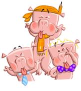 3 little pigs blowing raspberries illustration
