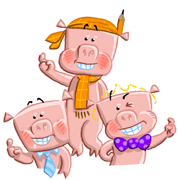 3 little pigs happy illustration