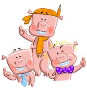 3 little pigs happy illustration