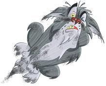 big bad wolf in flight illustration