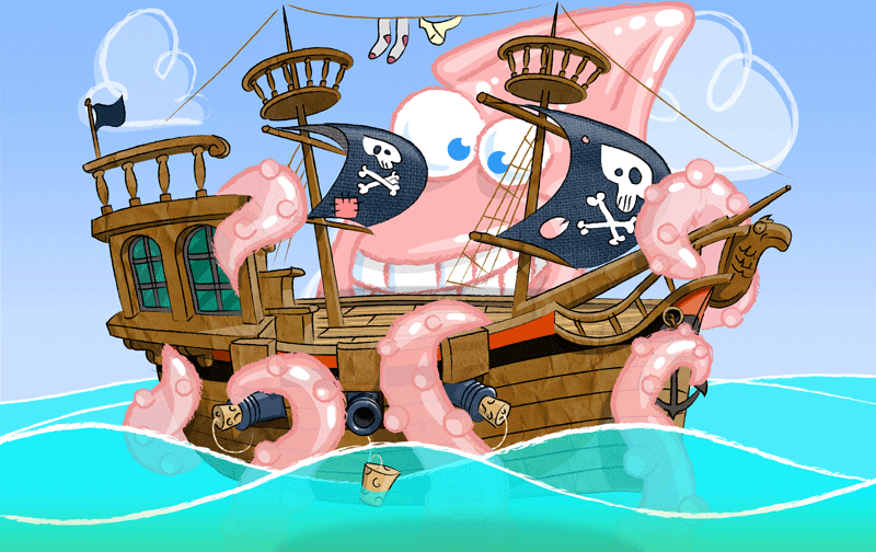 game art pirate ship and kraken squid