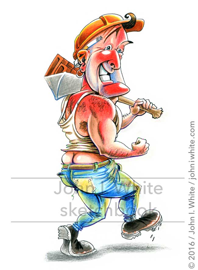 sketchbook cartoon illustration of a builder