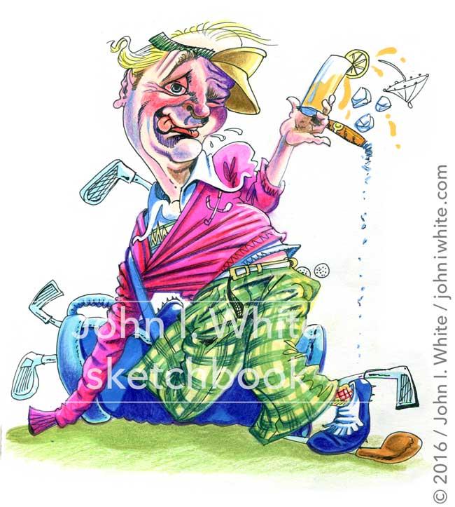 sketchbook illustration of a drunken golfer