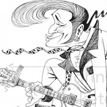 preview of illustration of a teddy boy rockabilly for shamrocks album cover