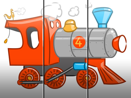 steam engine illustration art for kids' game app