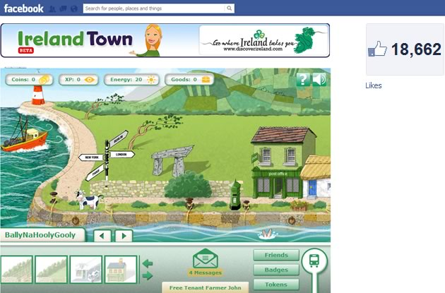 irelandtown facebook game interface detail