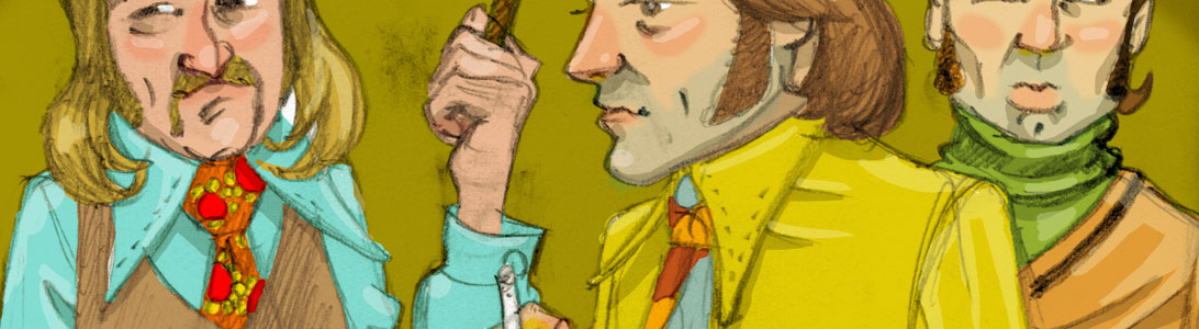 detail of 1970s seventies men illustration