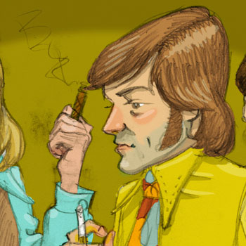 1970s seventies men illustration in colour