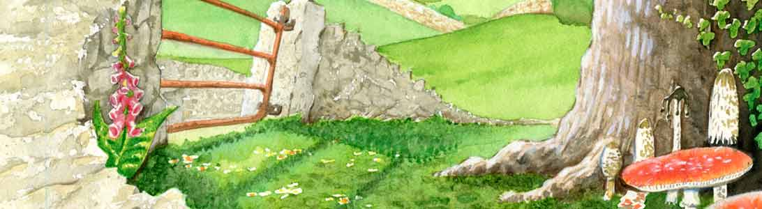 detail of illustratio for voices of the acorn poetry book