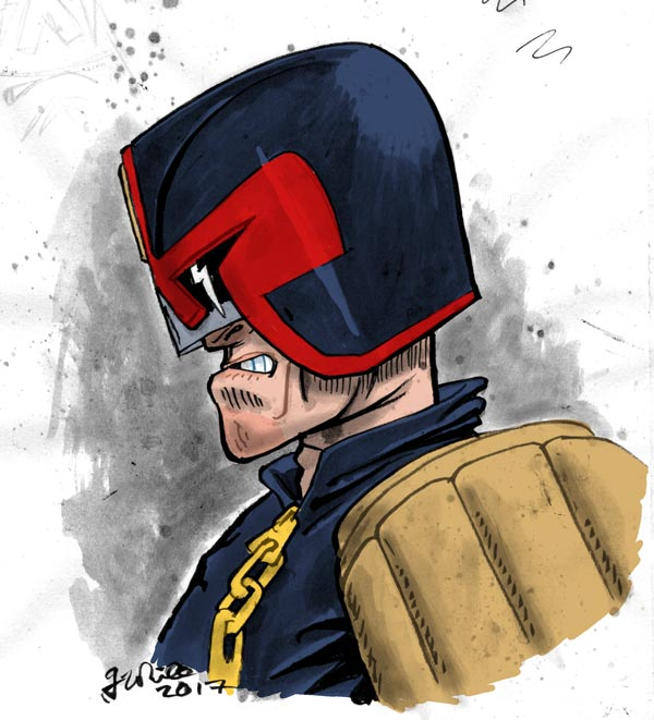 progress shot painted illustration judge dredd