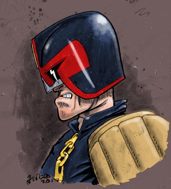 painted illustration judge dredd