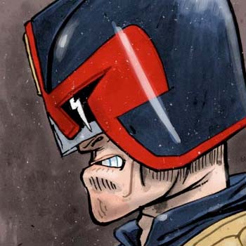 preview of painted illustration judge dredd