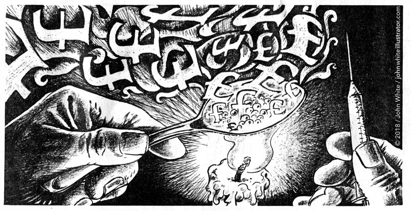 newspaper illustration about drugs heroin candle