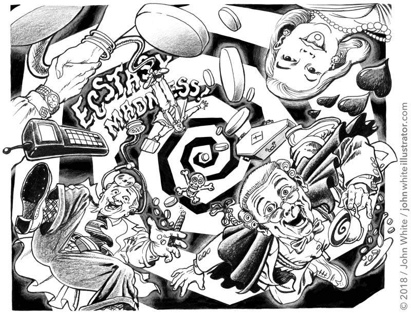 newspaper illustration about drugs ecstasy