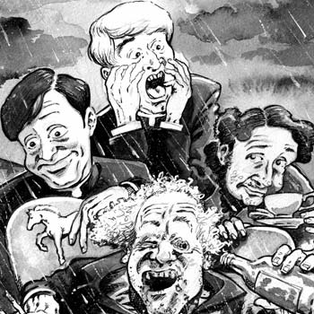 detail of newspaper illustration of father ted
