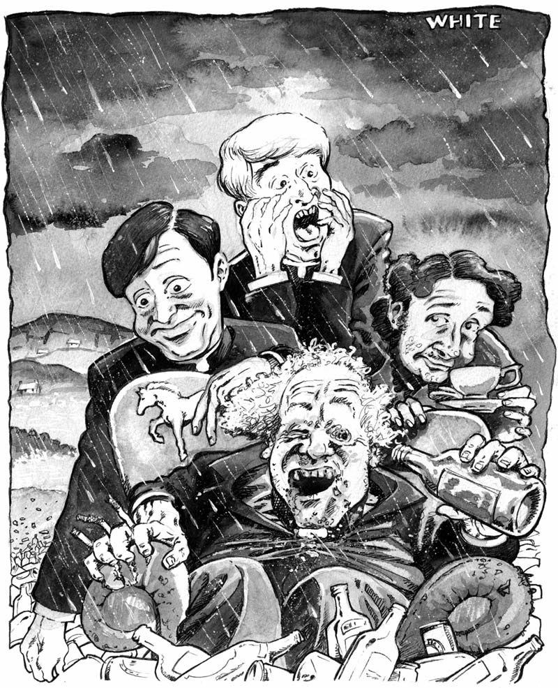 newspaper illustration of father ted, dougal, mrs. doyle and father Jack on craggy island