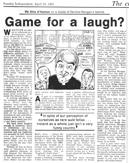newspaper cartoon of father ted