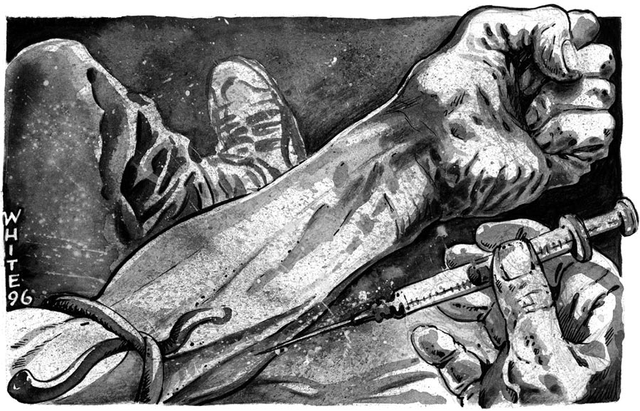 newspaper illustration about heroin injecting needle